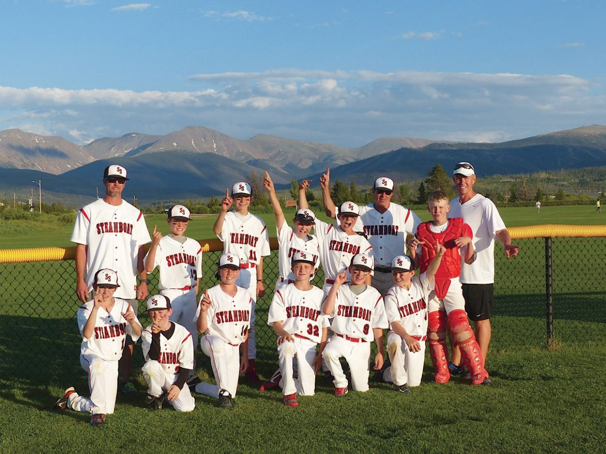 The Steamboat Springs U12 baseball team won the district title Monday evening in Winter Park. The team included, back row, from left, coach David Gedeon, Cole Gedeon, Grant Redmond, Tanner Ripley, Cameron Colombo, coach Joey Colombo, Mac Riniker and coach Scott Rotermund; and front row, from left, Jimmy Thielen, Sam Fitzhugh, Maxim Fullerton, Kevin Kaster, Jack Martin and Jack Rotermund.