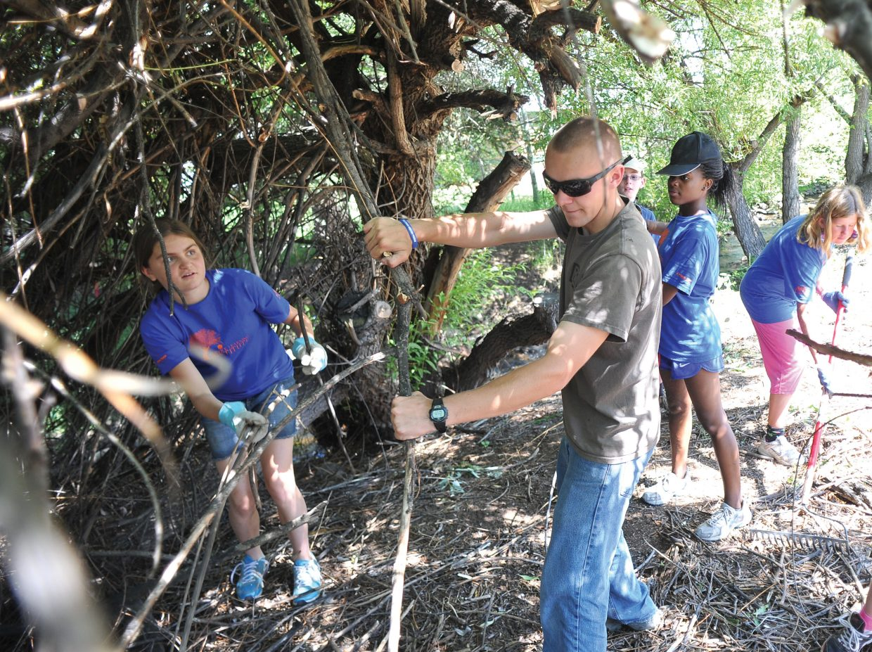 Garrett Pohlman works on his Eagle Scout project along with members of the Rocky Mountain Youth Corps Service Learning Institute. Pohlman's project was to help clean up unused areas of the Community Garden in downtown Steamboat Springs.