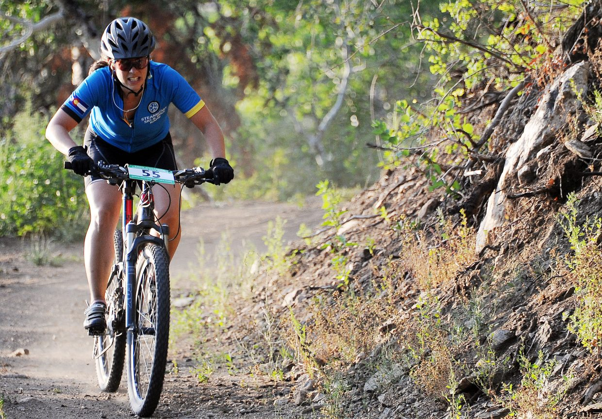 Jody Corey races Wednesday in the Sunshine Loop Town Challenge race at Steamboat Ski Area.