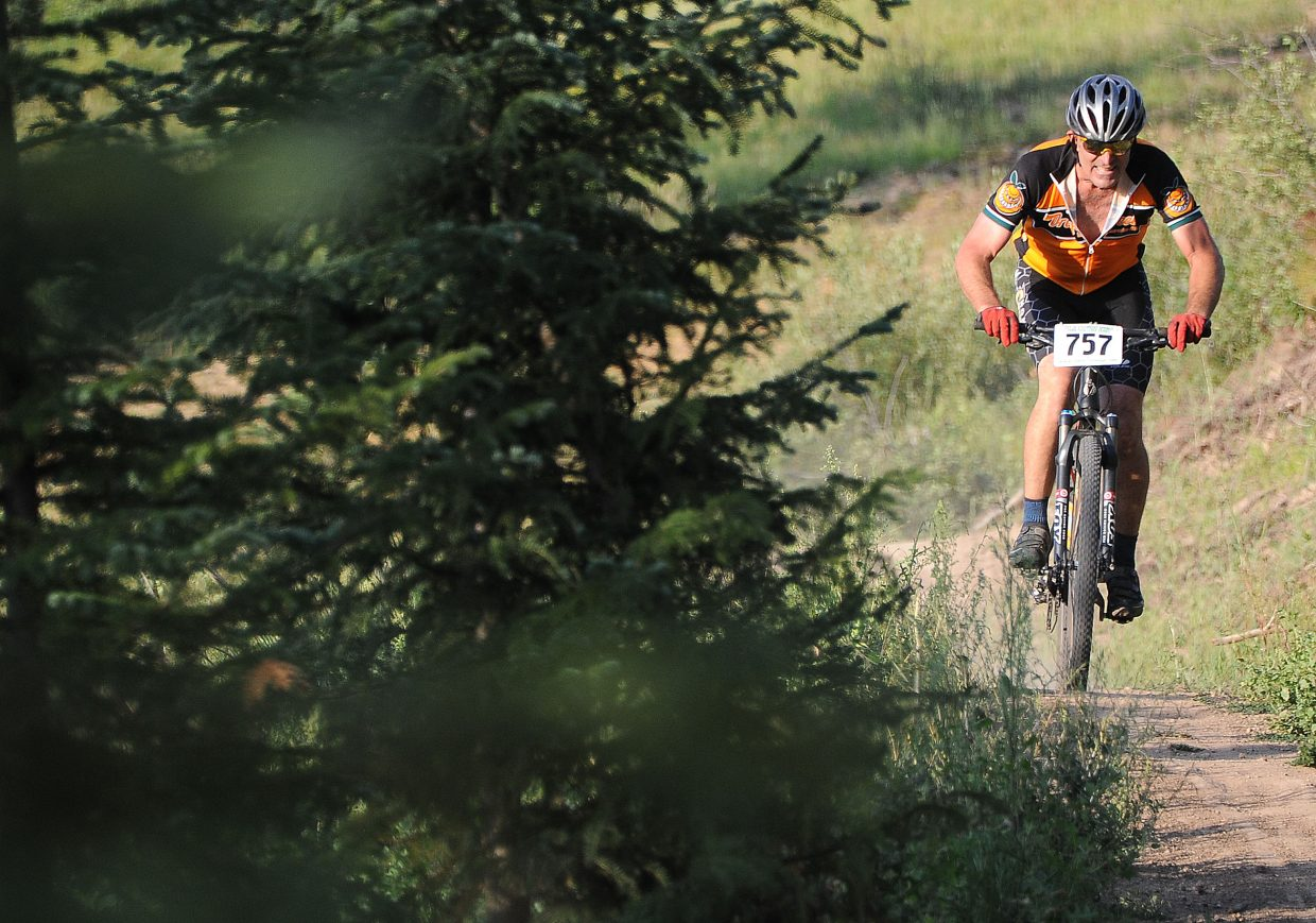 Dan Vargas races Wednesday in the Sunshine Loop Town Challenge race at Steamboat Ski Area.