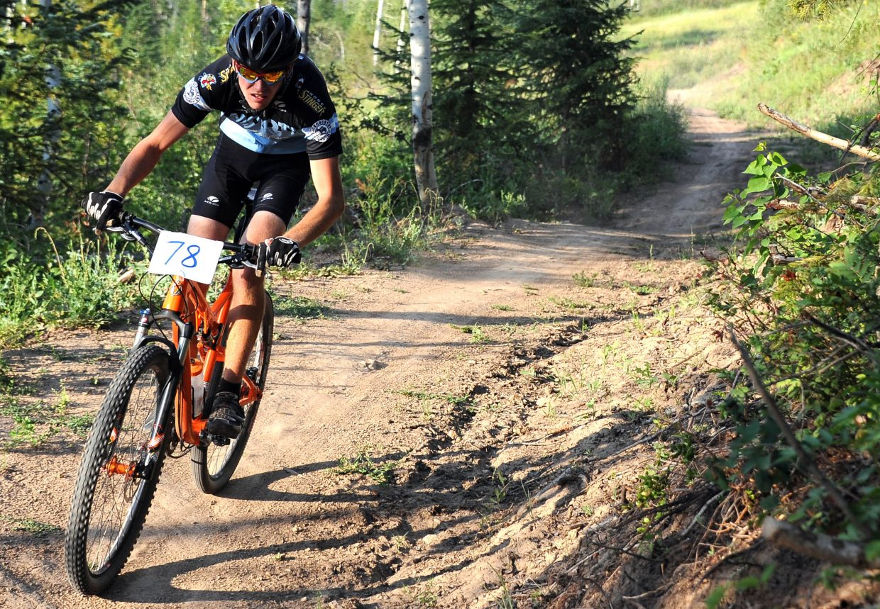Evan Weinman races Wednesday in the Sunshine Loop Town Challenge race at Steamboat Ski Area.