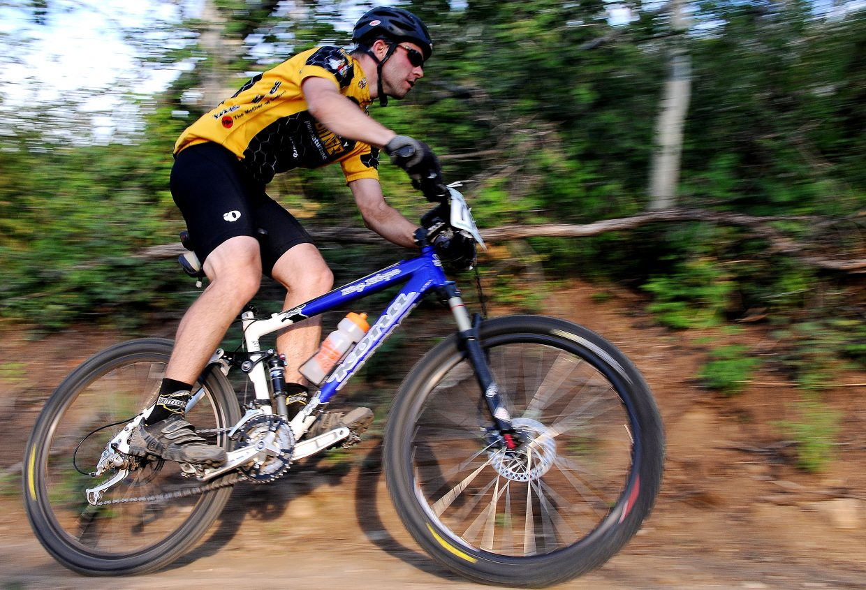 Brent Boyer races Wednesday in the Sunshine Loop Town Challenge race at Steamboat Ski Area.