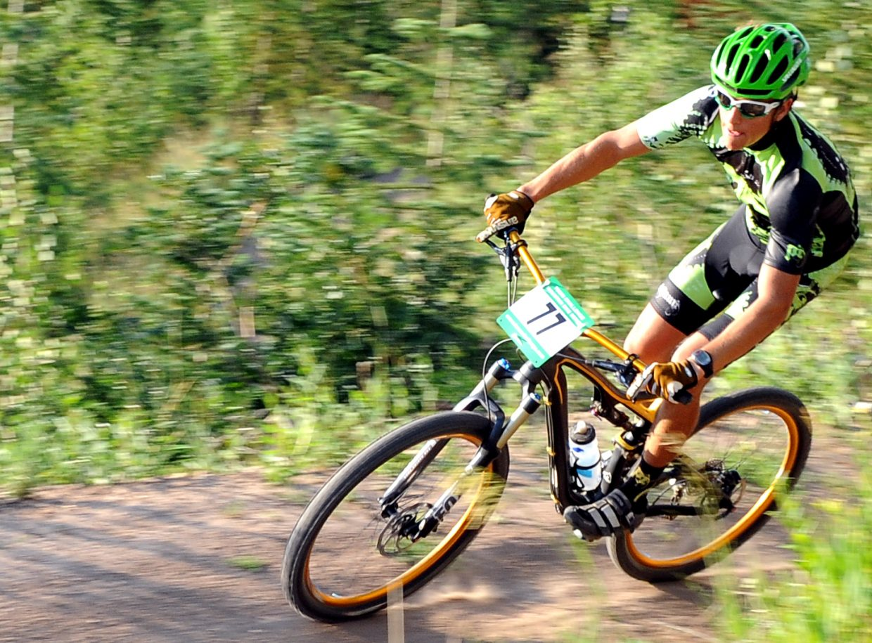 Charlie Von Thaden races Wednesday in the Sunshine Loop Town Challenge race at Steamboat Ski Area.