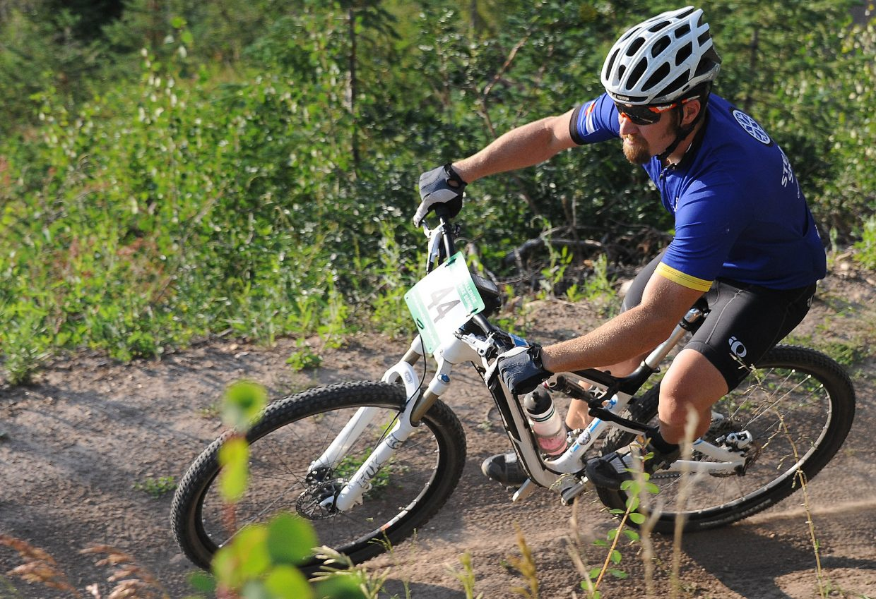 Jeff Snook races Wednesday in the Sunshine Loop Town Challenge race at Steamboat Ski Area.