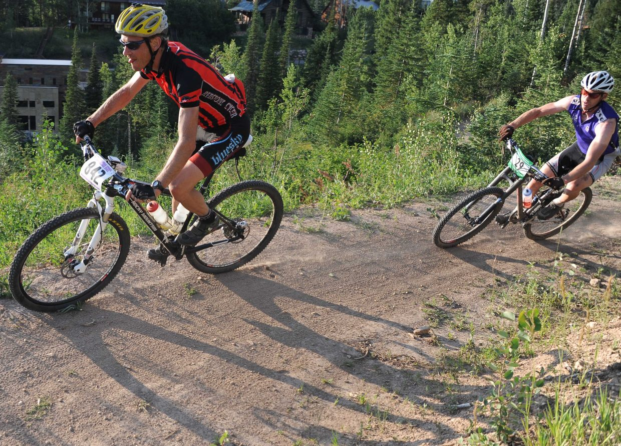 Greg Finnoff, left, and Jon Freckleton race Wednesday in the Sunshine Loop Town Challenge race at Steamboat Ski Area.