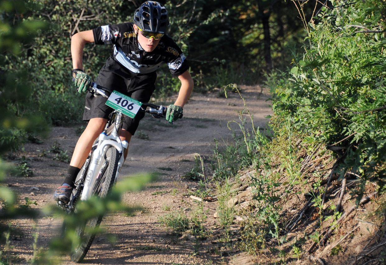 Koby Vargas races Wednesday in the Sunshine Loop Town Challenge race at Steamboat Ski Area.