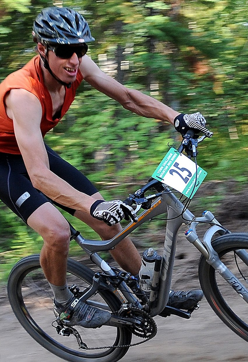Chad Gruben races Wednesday in the Sunshine Loop Town Challenge race at Steamboat Ski Area.
