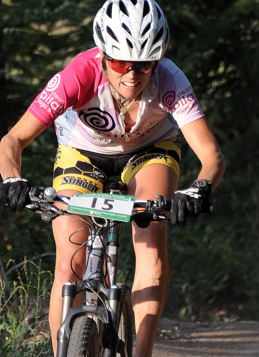 Kate Rench races Wednesday in the Sunshine Loop Town Challenge race at Steamboat Ski Area.