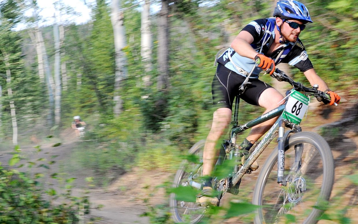 Jack Ignatius races Wednesday in the Sunshine Loop Town Challenge race at Steamboat Ski Area.