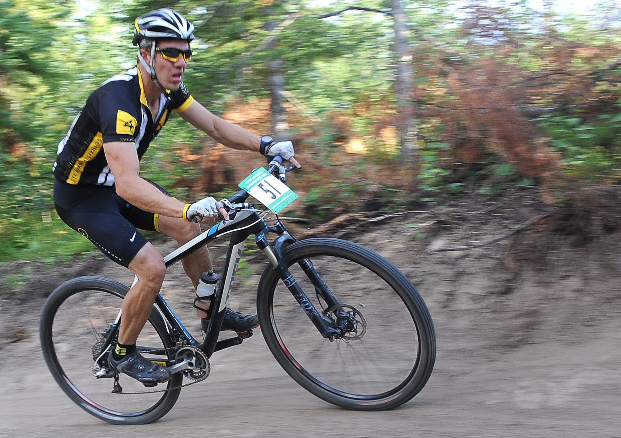 Jeff Minotto races Wednesday in the Sunshine Loop Town Challenge race at Steamboat Ski Area.