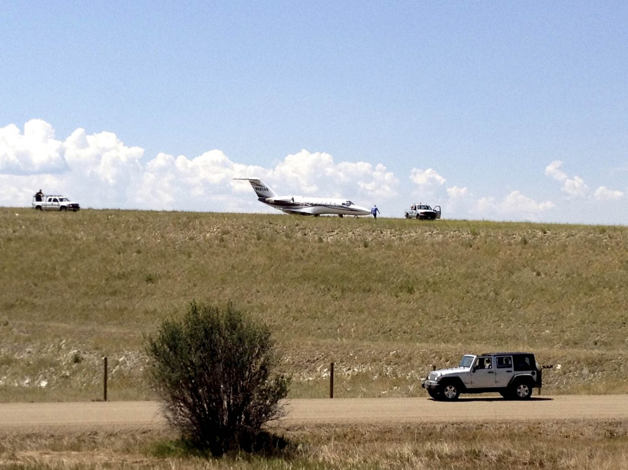 No one was hurt and there did not appear to be any damage after a Florida-based jet went off the end of the runway while landing Thursday at Steamboat Springs Airport. Airport Manager Mel Baker said the airport was closed for about 30 minutes while the plane was towed off the dirt, which serves as a safety area.