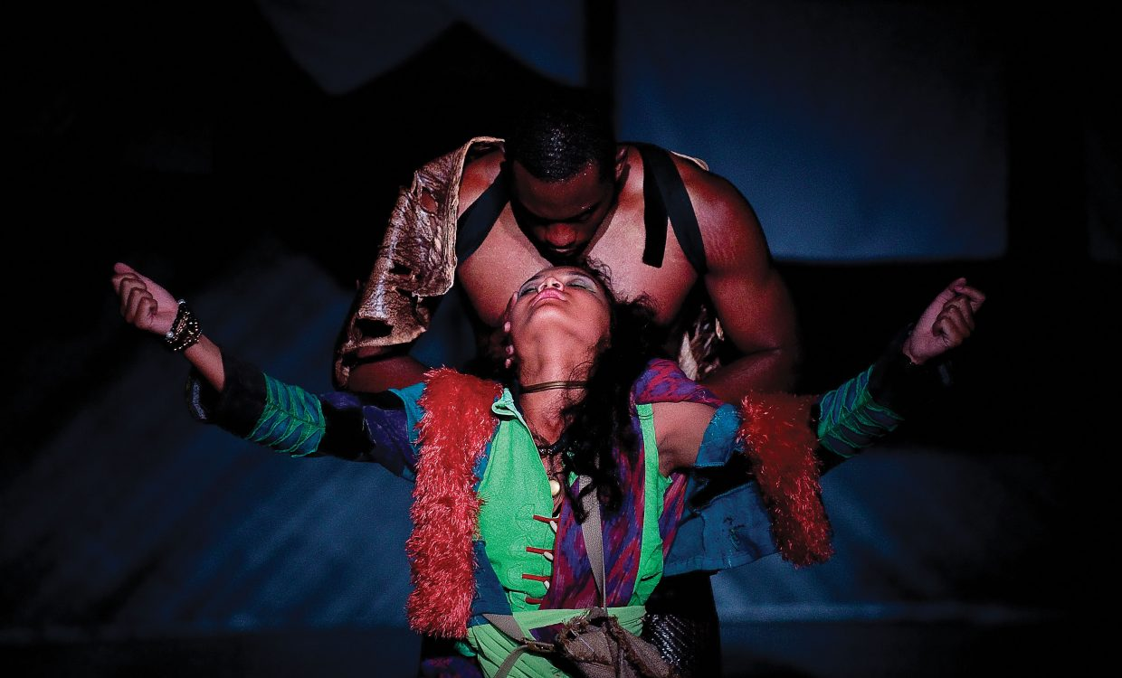 Frank Oakley plays the angel in a scene with Jamila Velazquez playing Kaderesh the Perry-Mansfield Performing Arts School and Camp's production of The Moon. The show will be part of the school's premieres, which open at 8 p.m. tonight at the Julie Harris Theater.