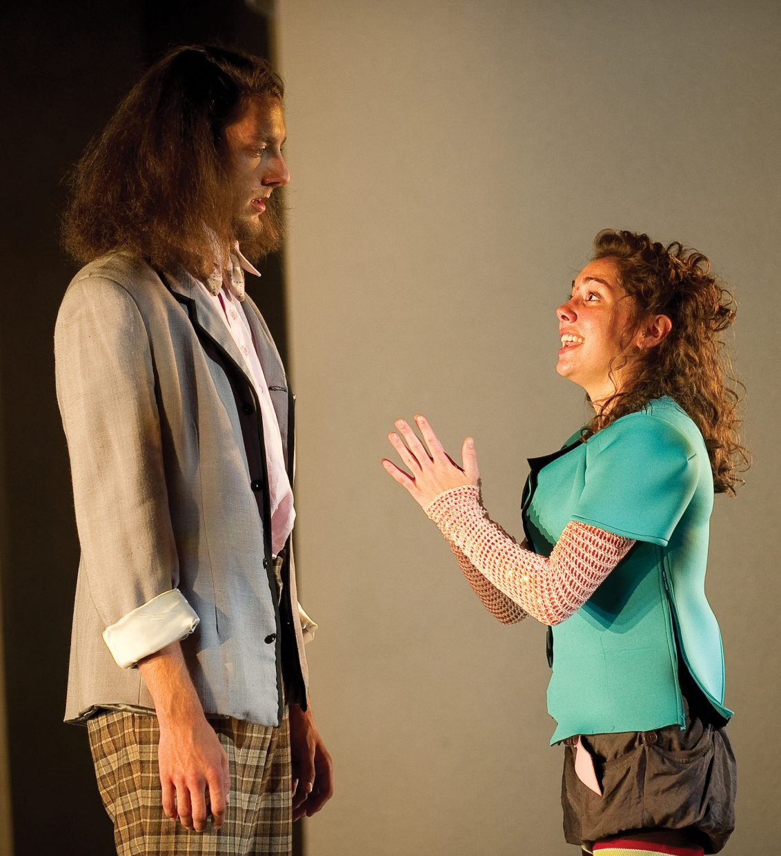 Maria Slye (Zaka) pleads with James Cowan (Clar) in a scene from the Perry-Mansfield Performing Arts School and Camp 's production of  Out of Joint. The show will be part of the camps premieres tonight at 8 p.m. at the Julie Harris Theater.