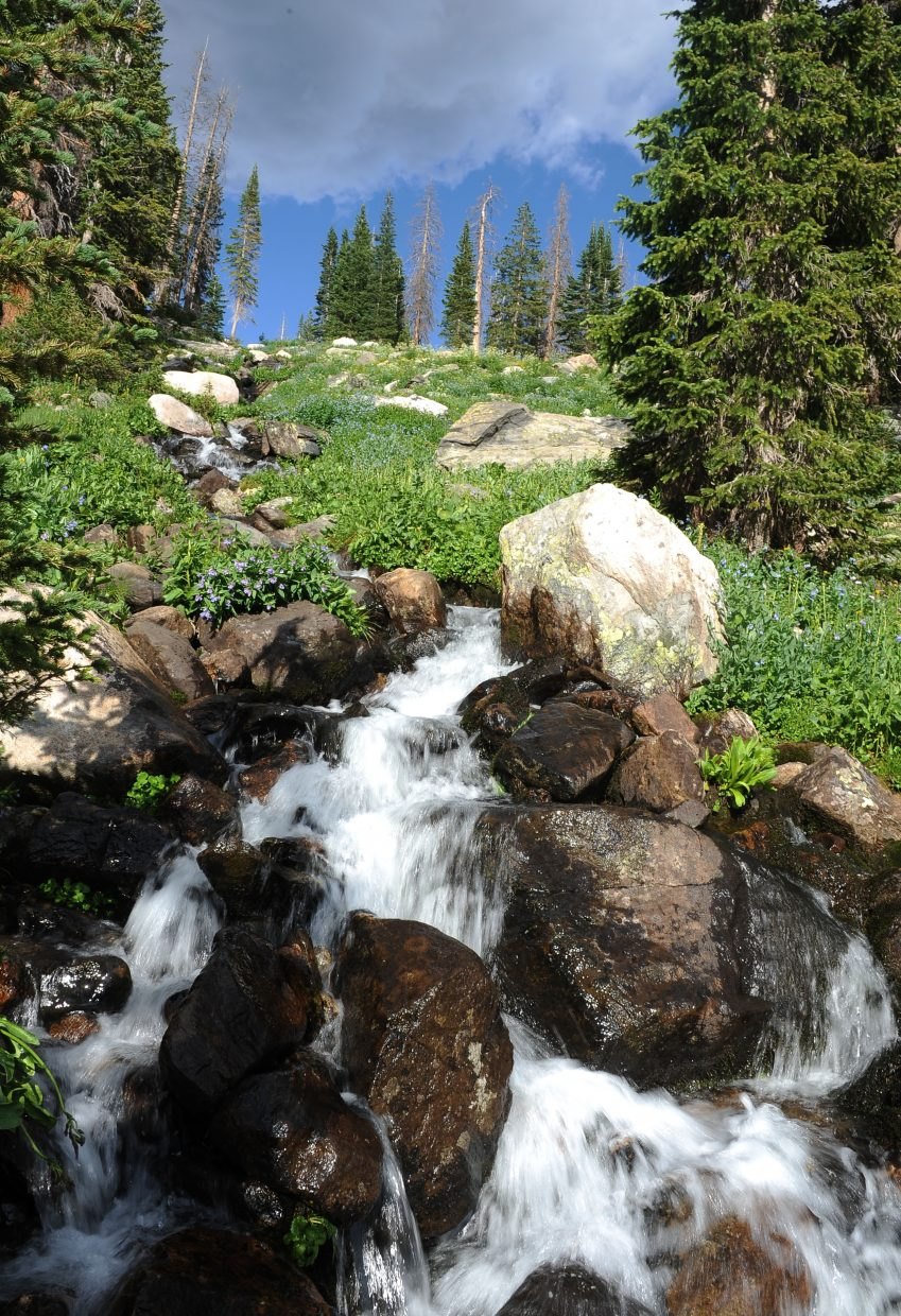 Water flows down into Mica Lake.