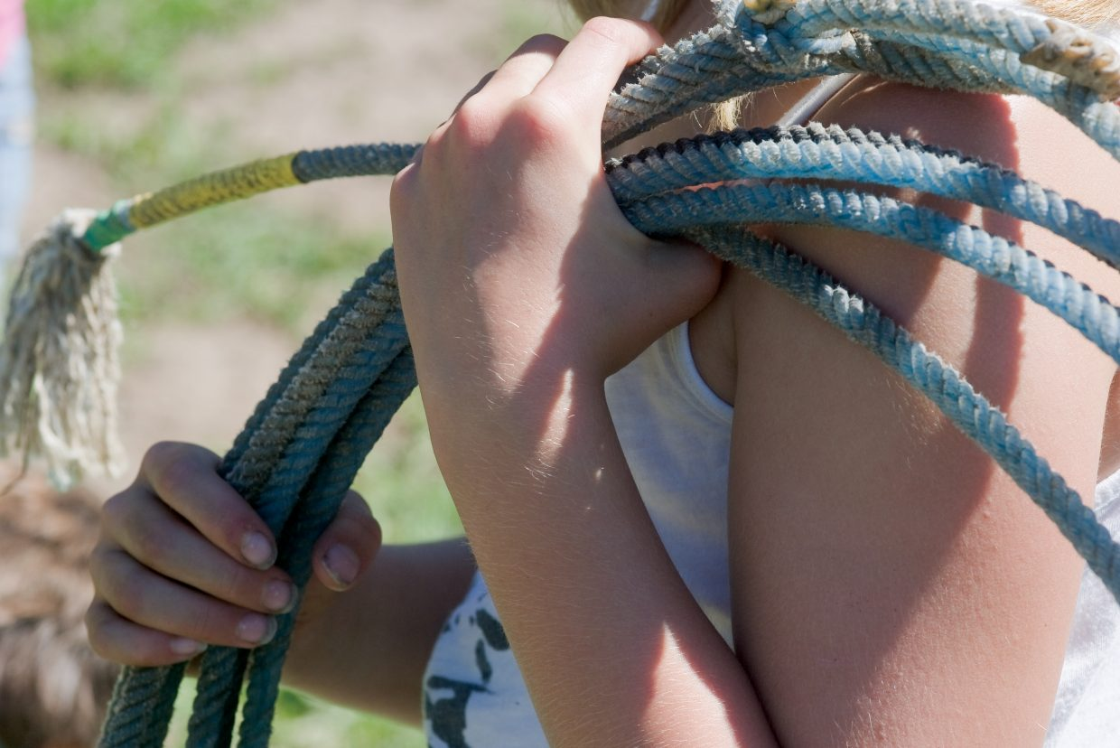 In addition to riding, youngsters from the city of Steamboat Springs Parks, Open and Recreational Services Department summer camp also learned how to rope during a four-day horseback riding camp at the CR Summit Riding Club.