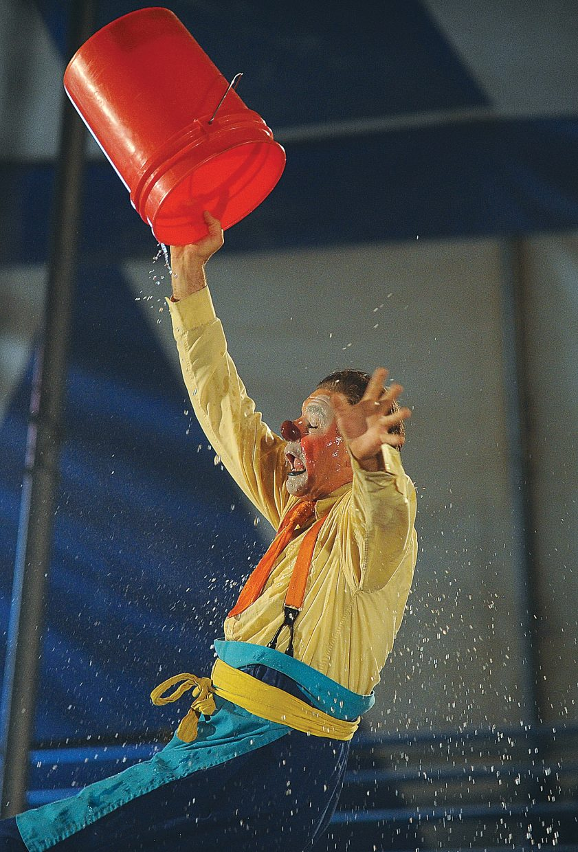 Clown Nathan Holguin performs during the first performance of the Culpepper & Merriweather Circus Monday afternoon at the rodeo grounds in Steamboat Springs. The circus has performances at 5 p.m. and 7:30 p.m. Tuesday in Steamboat before packing up and heading to Kremmling.