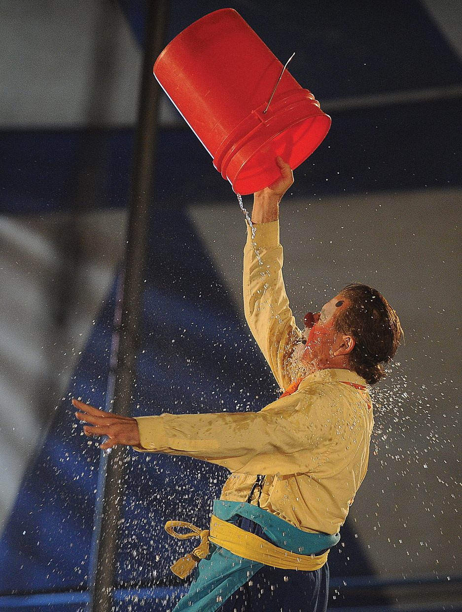 Clown Nathan Holguin gets wet while performing during the first performance of the Culpepper & Merriweather Circus Monday afternoon at the rodeo grounds in Steamboat Springs. The circus has performances at 5 p.m. and 7:30 p.m. Tuesday in Steamboat before packing up and heading to Kremmling.