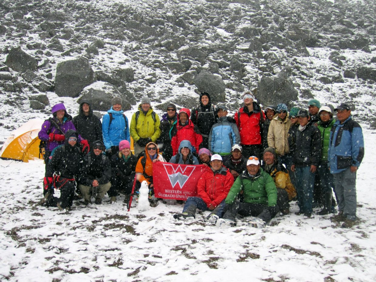 A group of Colorado trekkers, with ties to Western State Colorado University and Steamboat Springs, poses on snowy Ramdung Peak in Nepal. That snow kept them from reaching the mountain's summit.