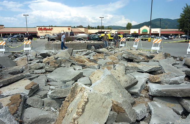 Torn concrete in front of Christy Sports in Central Park Plaza on Monday shows the start of repairs to the parking lot. A crew from Mark Young Construction of Denver will be working through the week on this area before working on another area in the parking lot.