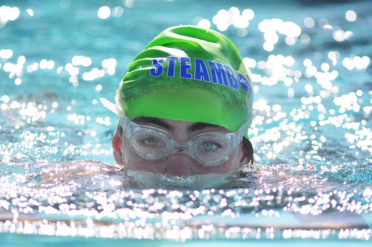 Paige VanArsdale emerges during a breaststroke Friday at the Old Town Hot Springs swimming pool.