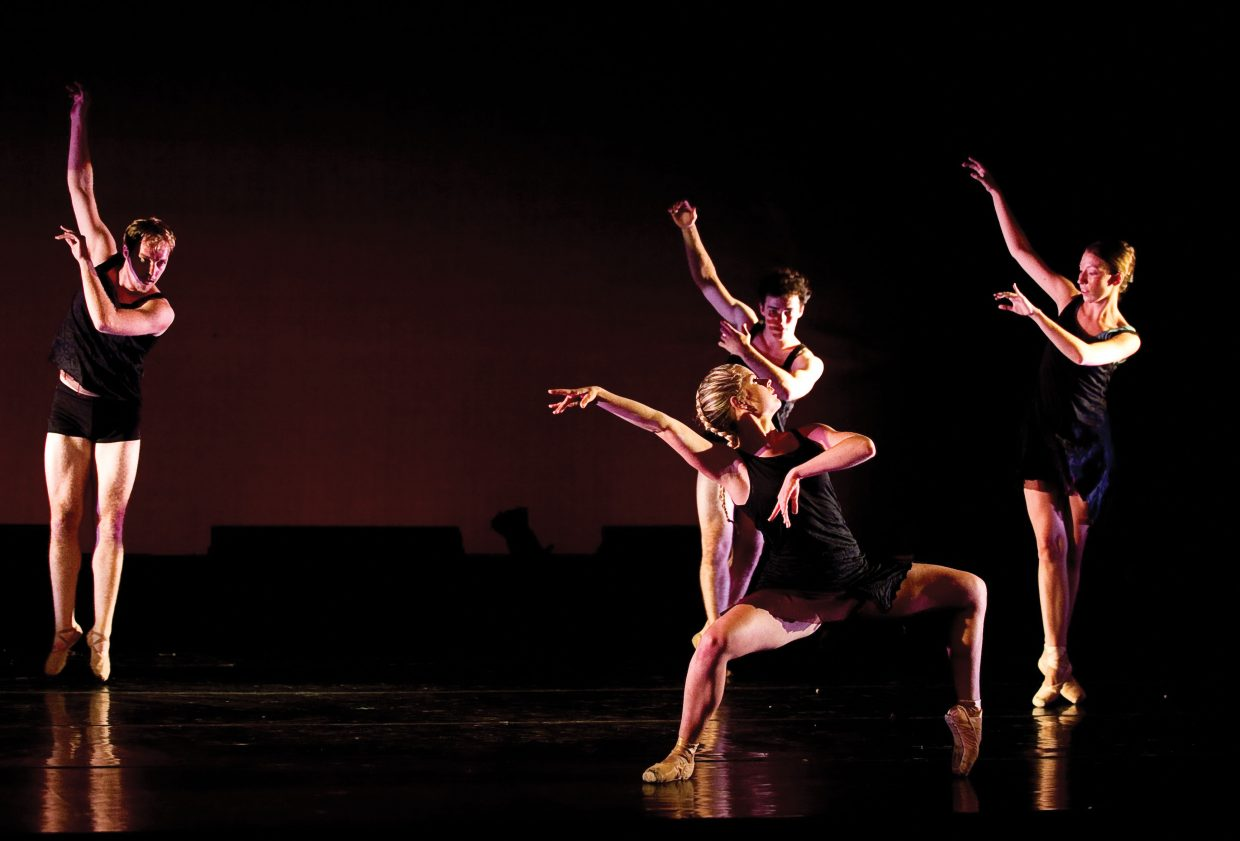 "Dancers, shown from left to right, Chris LaFleche, Raffles Durbin, Bryony McCullough, and Ellie Swiatkiwsky (front) perform ""Slow Falling"" a dance choreographed by Rick McCullough that will world premiere at this weekend's Evening of Dance, which will be featured at the Perry-Mansfield Performing Arts School and Camp."