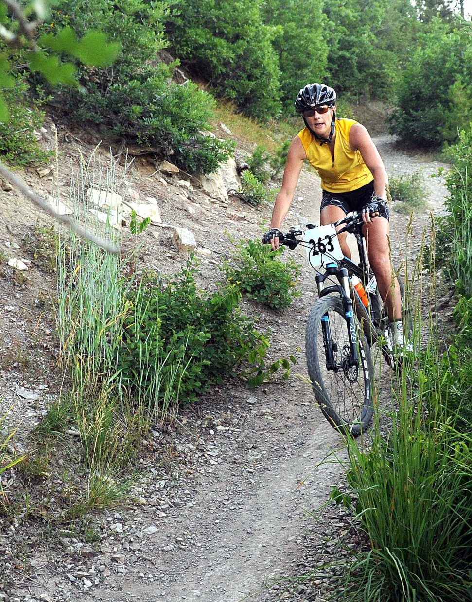Kelie Nelson rides on Wednesday in a Town Challenge race on Emerald Mountain.