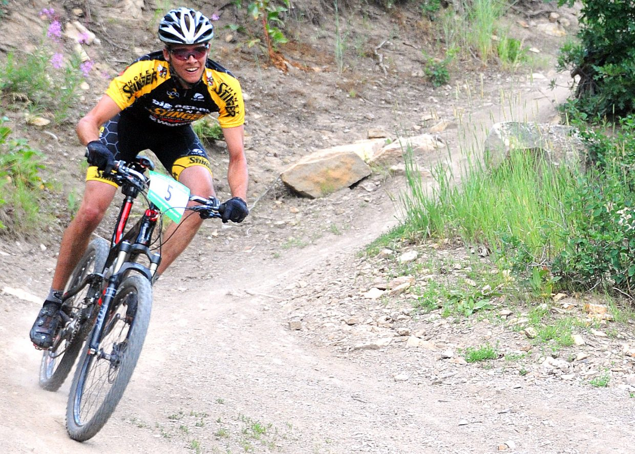 Peter Kalmes rides on Wednesday in a Town Challenge race on Emerald Mountain.