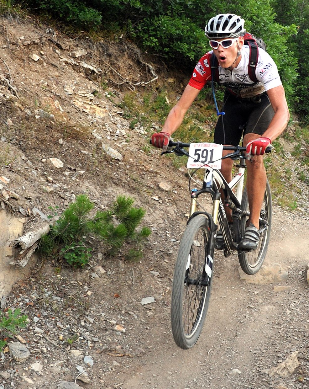 Grant Mills rides on Wednesday in a Town Challenge race on Emerald Mountain.