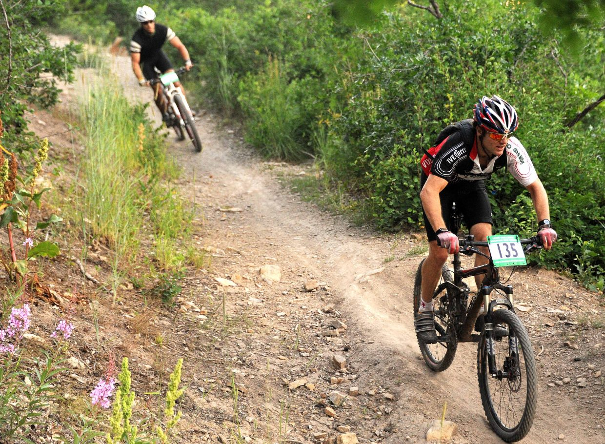 Darrin Fryer rides on Wednesday in a Town Challenge race on Emerald Mountain.