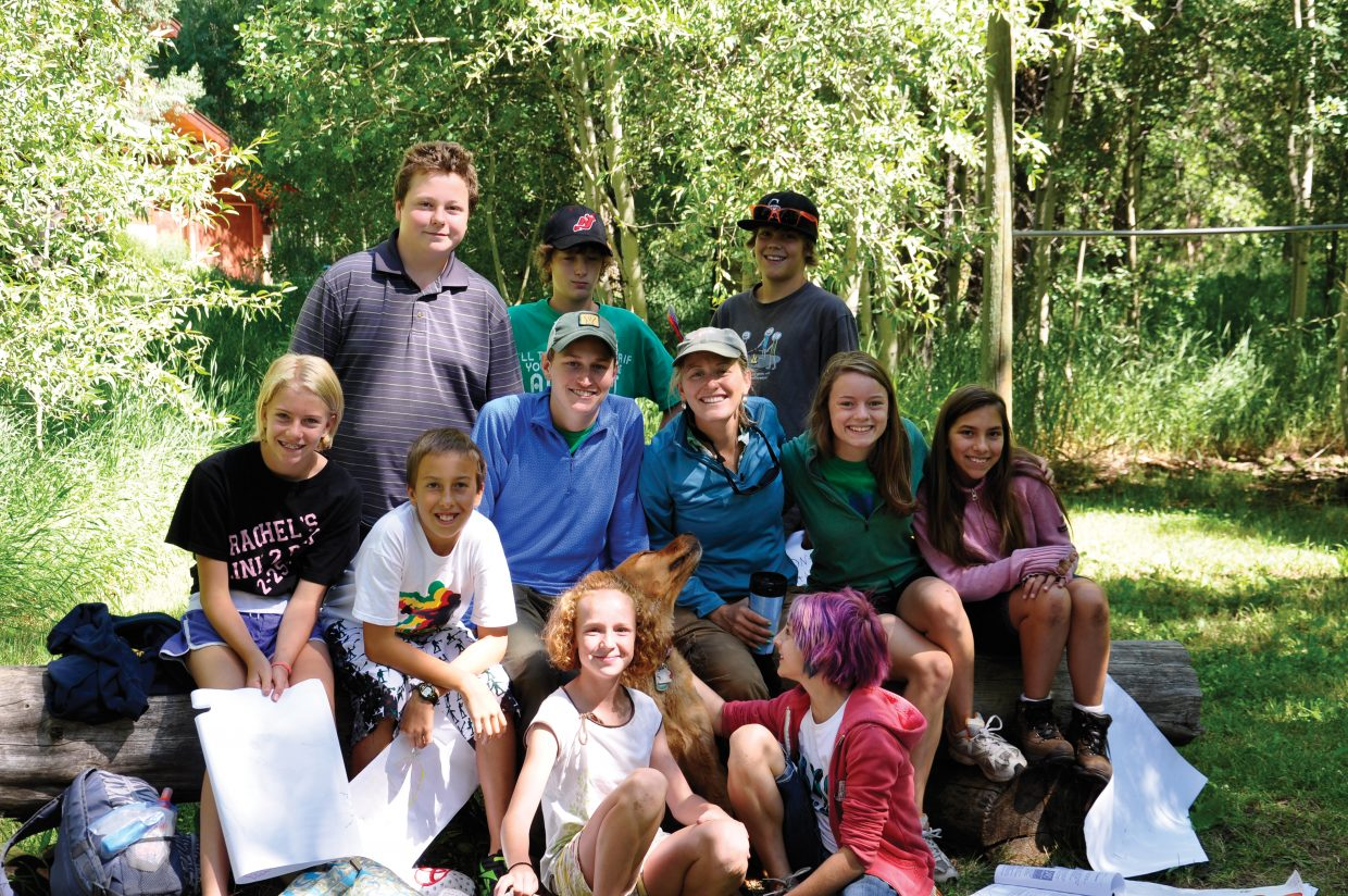 Participants and staff members of the new Book Trails camp in Steamboat Springs take a break for a photo shoot during camp this week at the Kurtz Ranch.