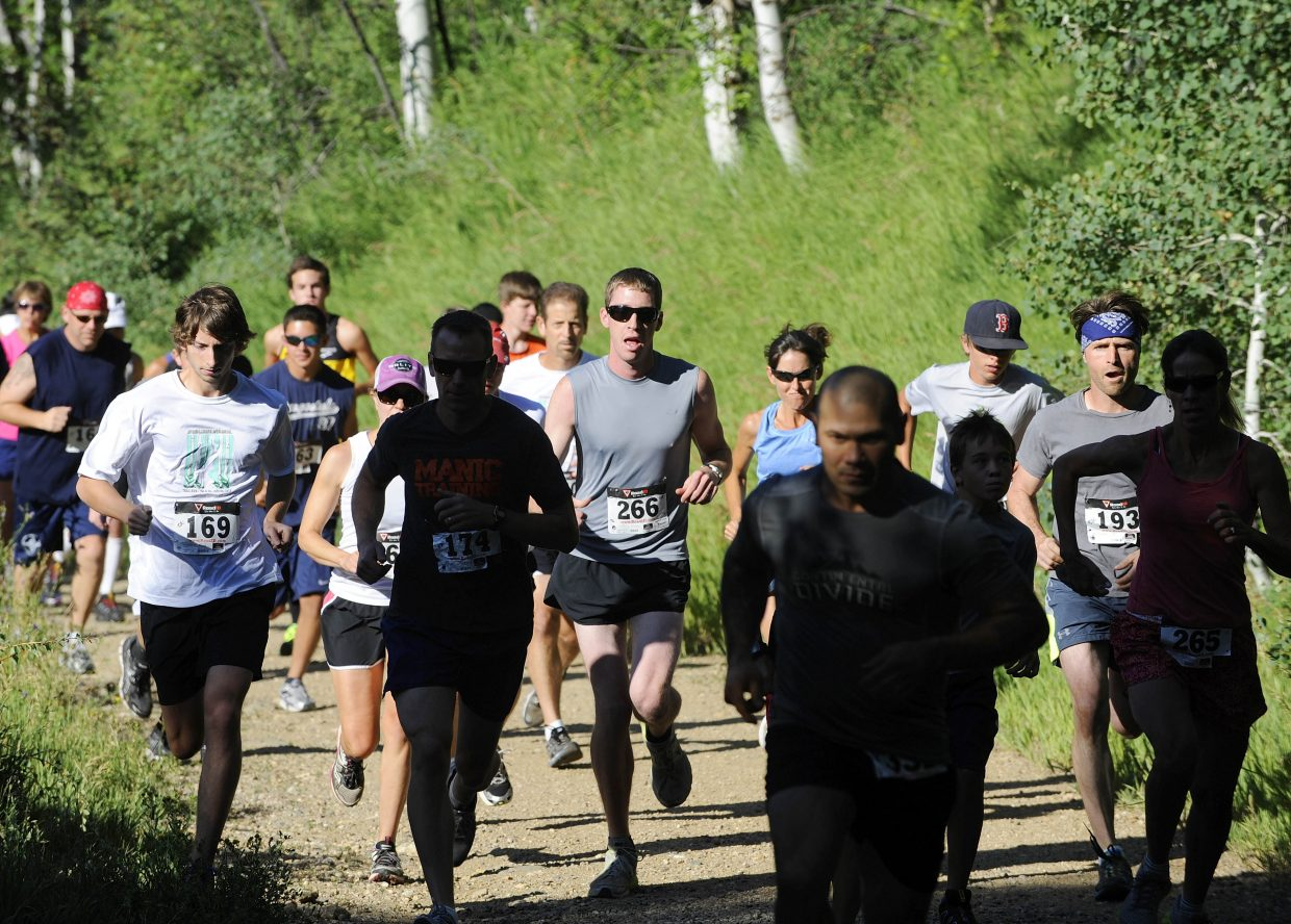 Runners begin the 5-kilometer Steamboat Springs Running Series Spring Creek Memorial race Saturday. Mathew Mayer was the fastest man in the 5K, and Heather Gollnick won on the women's side.