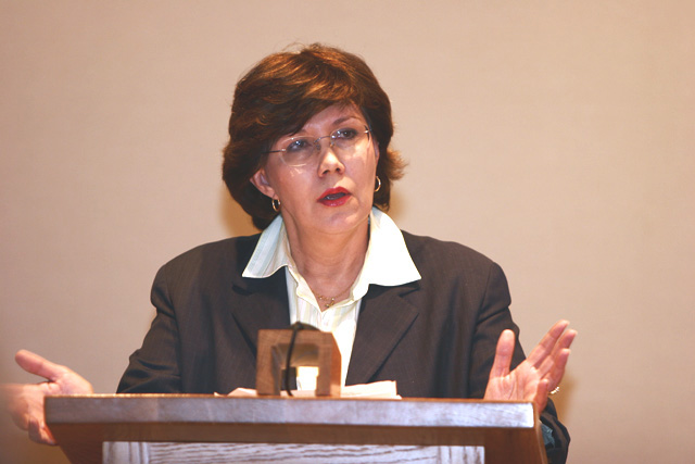 Linda Chavez addresses a crowd of more than 200 people about immigration Thursday. Her presentation was the first in the four-part Seminars at Steamboat series.