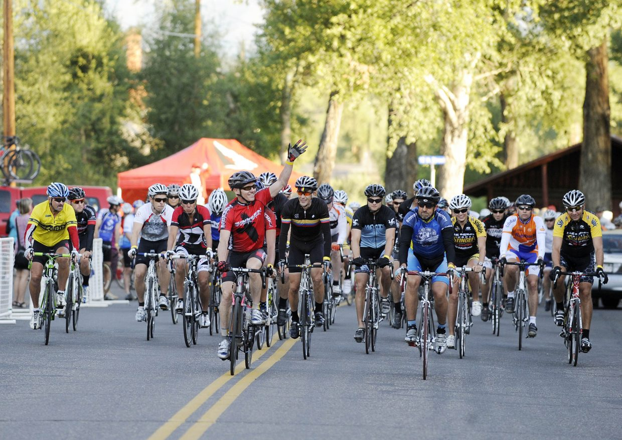 Kent Eriksen leads out riders Saturday morning at the start of the eighth annual Tour de Steamboat. More than 600 riders tackled three routes during the event, which raises money for the Sunshine Kids Foundation.