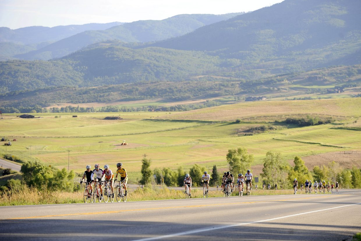 Riders begin the Rabbit Ears Pass climb Saturday morning during the eighth annual Tour de Steamboat. More than 600 riders tackled three routes during the event, which raises money for the Sunshine Kids Foundation.