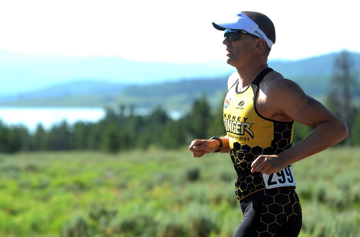 Mark Satkiewicz competes Sunday in the Steamboat Lake Sprint Triathlon. He finished third.