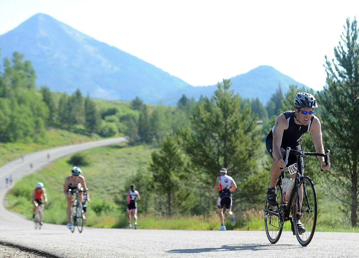 Kane McCord competes Sunday in the Steamboat Lake Sprint Triathlon.