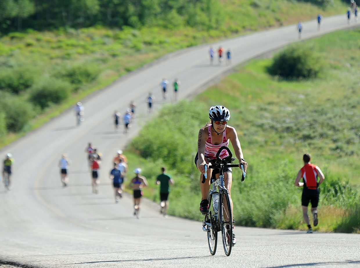 Michelle Warrick competes Sunday in the Steamboat Lake Sprint Triathlon.