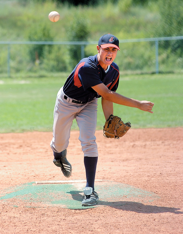 Kansas City Indians pitcher Alex Garza fires a pitch toward home plate during his team's 15-7 loss to Pro Style from Indiana Friday afternoon at Howelsen Hill. The teams were playing in the Triple Crown Baseball World Series, which began this week in Steamboat and the surrounding area.