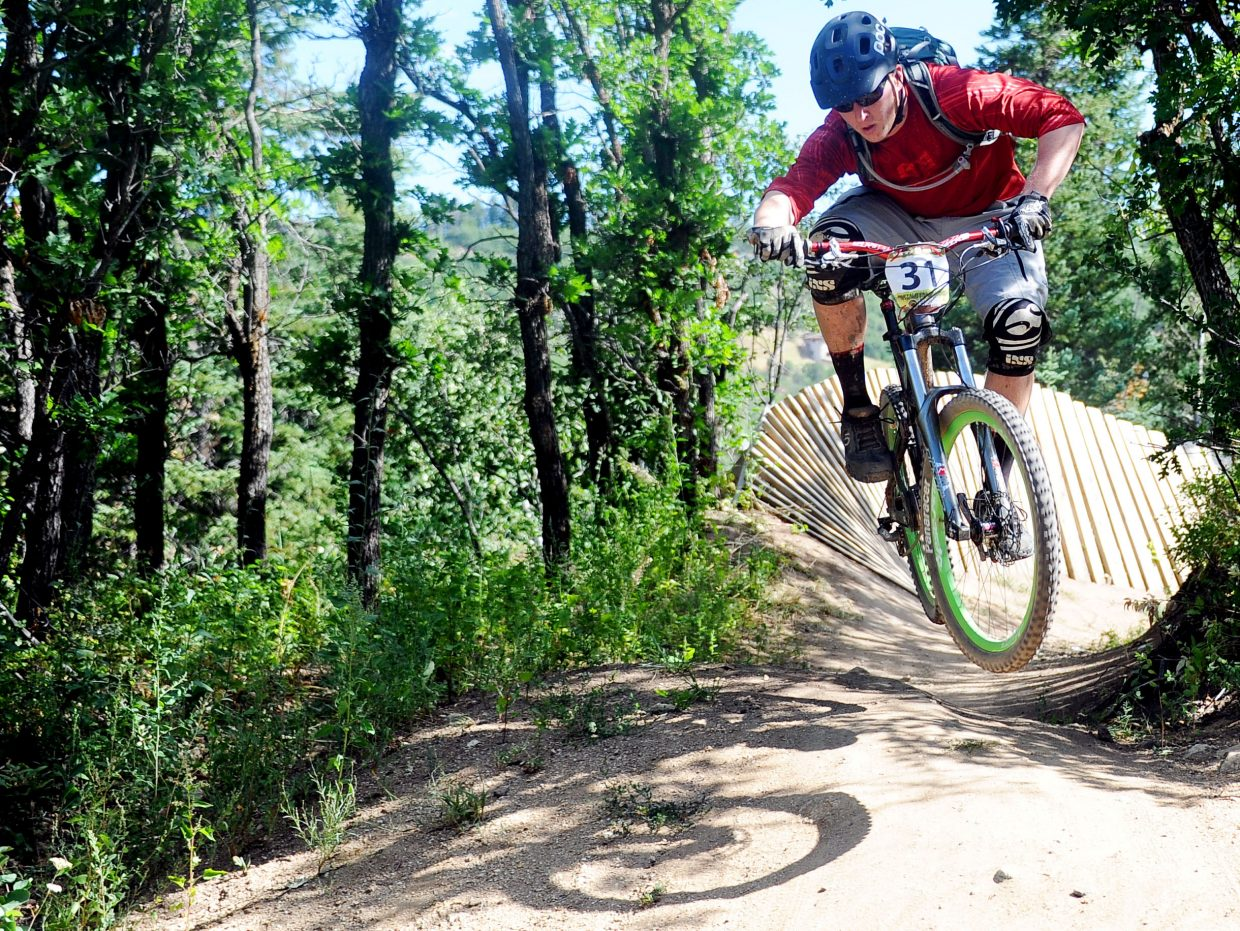 Steamboat Springs rider Ned Kajko rides Sunday in the Buffalo Pass Enduro event in Steamboat Springs. The inaugural event drew about 50 riders for a dash from the top of Buff Pass to the base of Steamboat Ski Area.