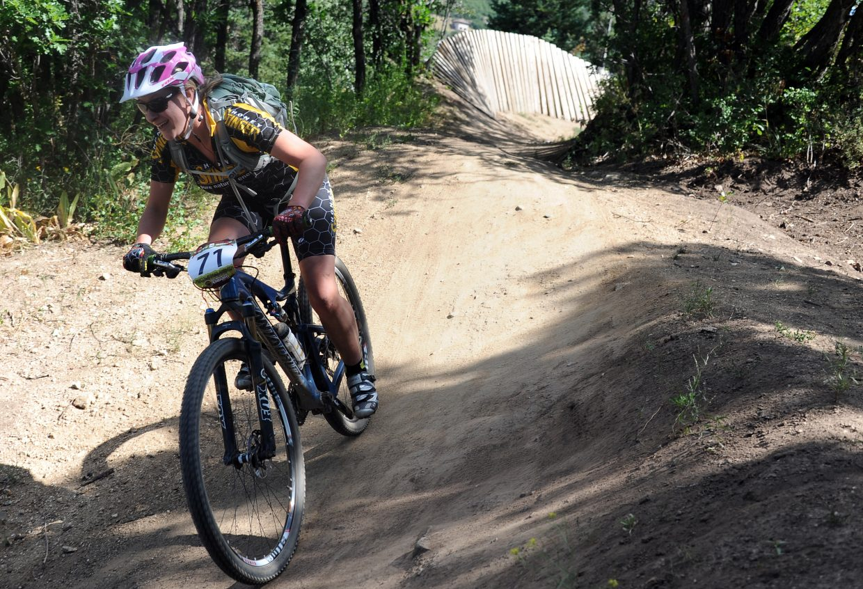 Liana Gregory rides Sunday in the Buffalo Pass Enduro race in Steamboat Springs.