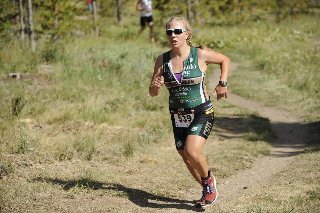 Fort Collins triathlete Bailey Hinz finishes the second annual Steamboat Sprint Triathlon on Sunday.