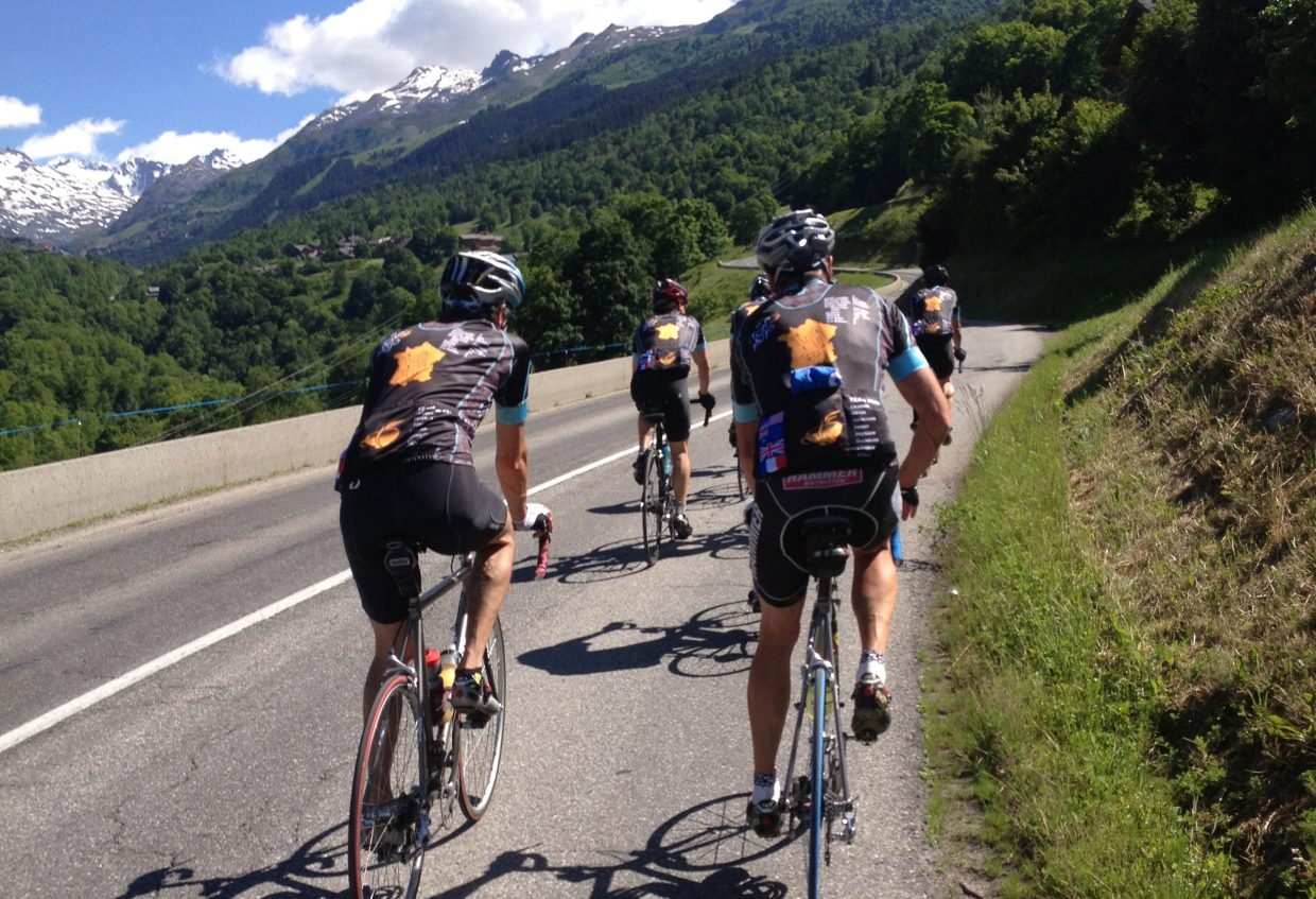 Riders with the Tour de Mojo, a group of friends mostly based in Steamboat Springs, work their way up a climb on the Col du Telegraphe earlier this month during a cycling tour of France. The group spent eight days pedaling up and down the Alps, finishing with more than 400 miles ridden and 60,000 feet of elevation gained.