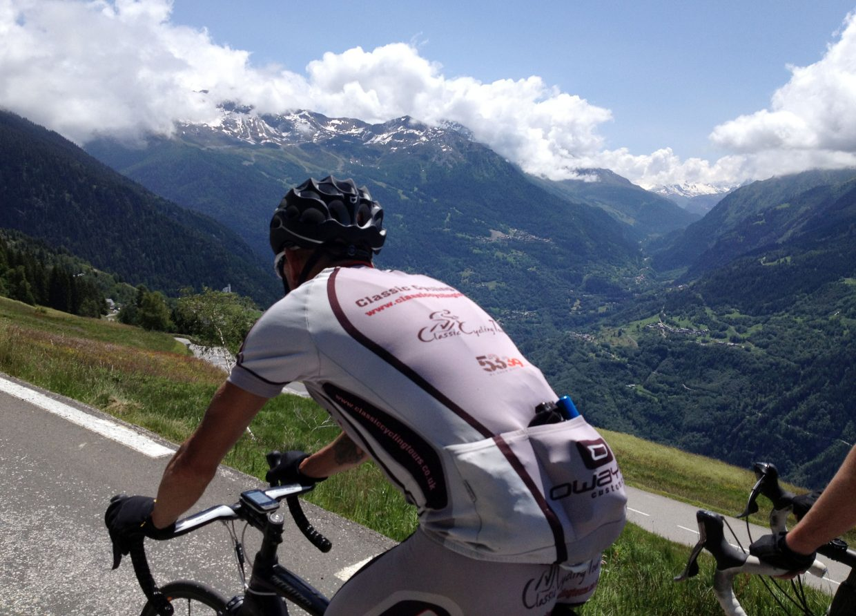 Tour de Mojo riders work their way up Col du Petit St. Bernard on their way to a brief stop in Italy.