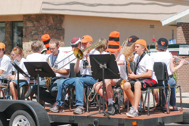 """Hayden students play """"Eye of the Tiger"""" in the Colorado Days parade."""