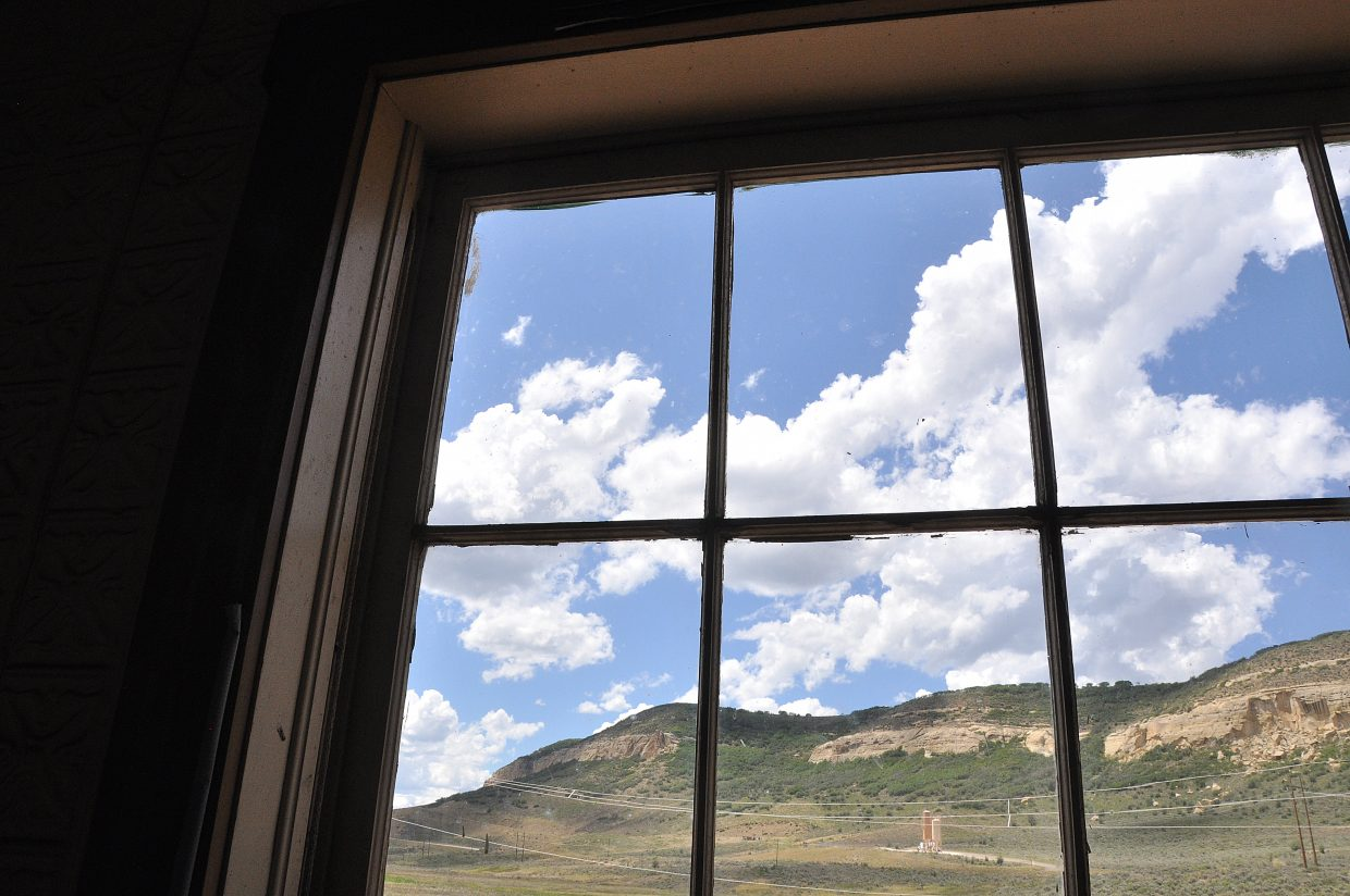 The view from inside the Foidel Canyon Schoolhouse.