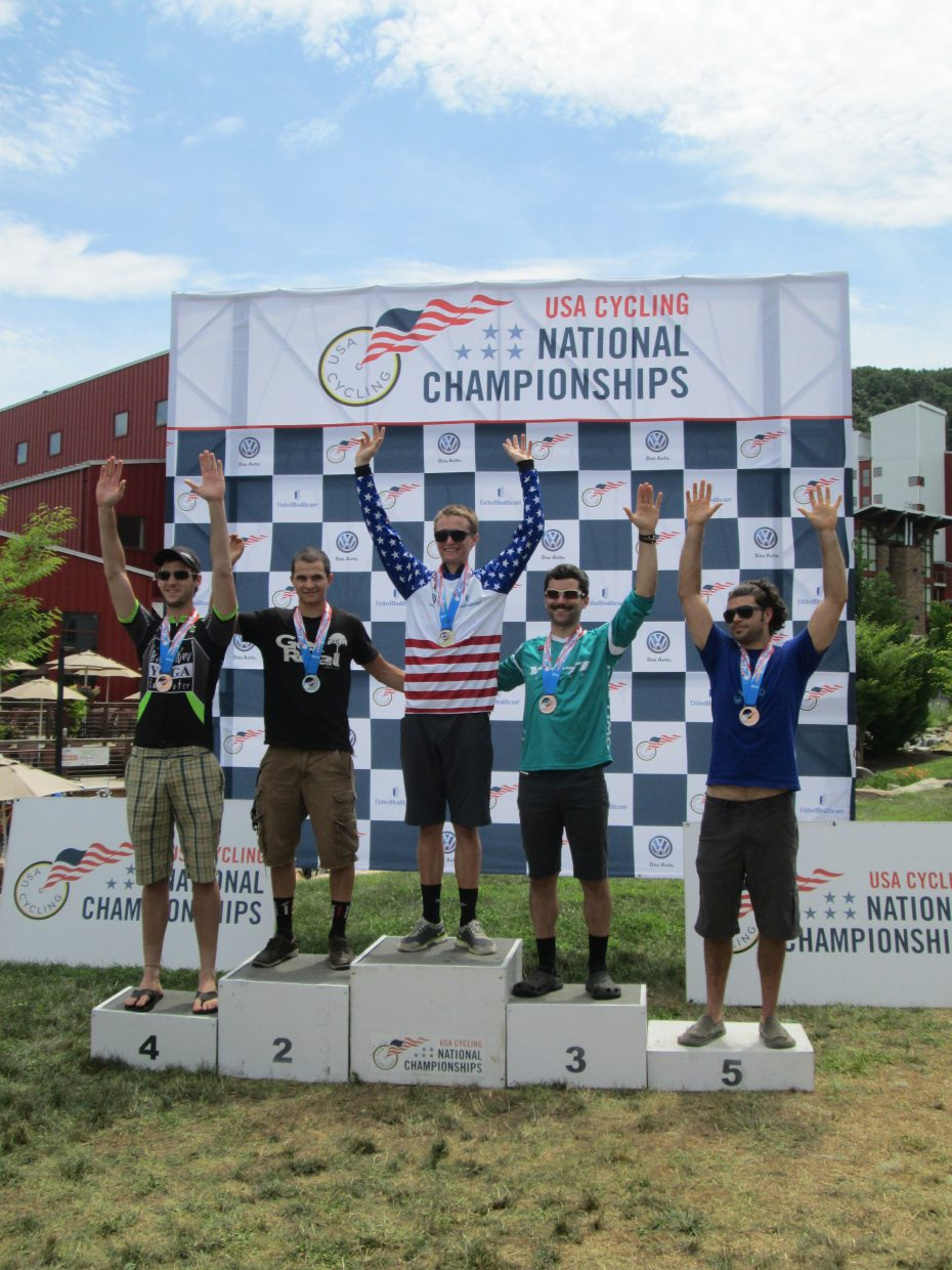 Steamboat Springs' D.J. Nudy placed third last weekend at the USA Cycling Cross-Country Mountain Bike Nationals at Bear Creek Village Ski Resort in Macungie, Penn. He finished in 8 minutes and 28.2 seconds, just behind winner Gunnar Bergey, of Banner Elk, N.C., and second-place finisher Trevor DeRuise, of Reno, Nev.