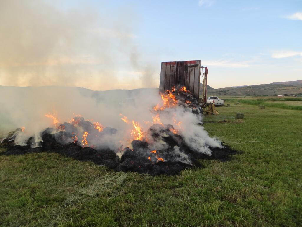West Routt Fire Protection District firefighters were called at about 8 p.m. Tuesday to help put out a fire that started in a hay field in the 11600 block of Routt County Road 70 near the Yampa River. Chief Bryan Rickman said a bale wagon caught fire, possibly from a buildup of hay on a hydraulic motor. The fire was put out, and the machine had minor damage. About 20 to 30 bales of hay were destroyed.