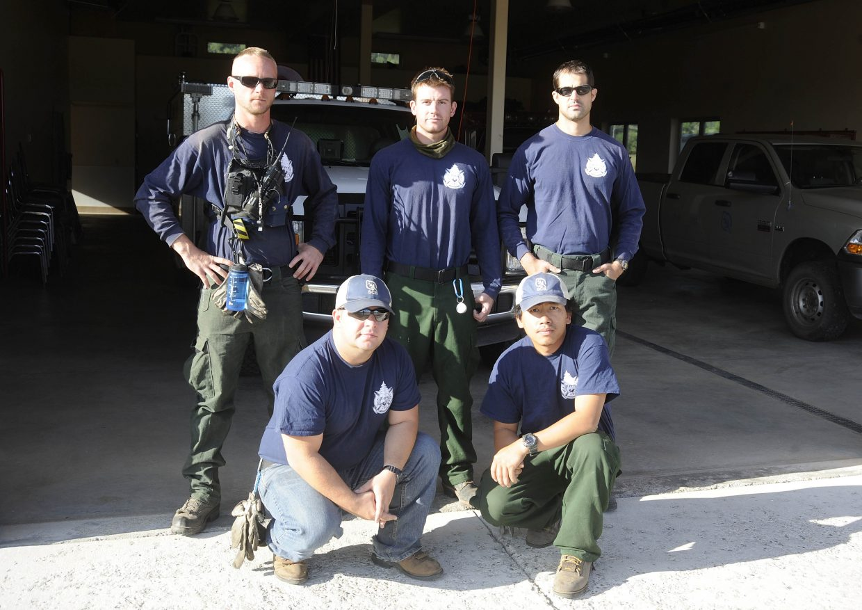 The Veterans Fire Corps crew members working in the Routt National Forest are, clockwise from top left, crew leader Josh Avery, Mike Bowers, Craig Parker, Toua Vang and Elder Pyatt.