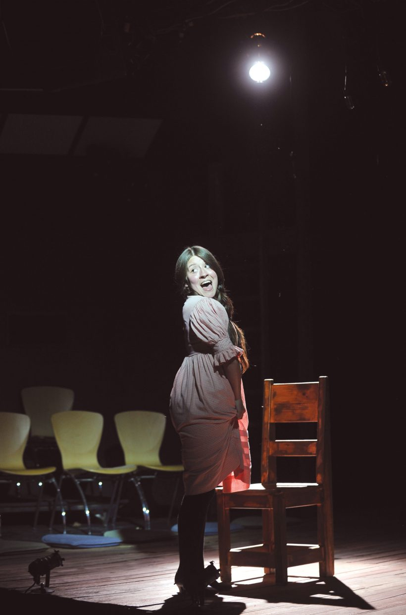 """Idalmy Carache performs a scene during a run-through for """"Spring Awakening"""" on Wednesday at the Perry-Mansfield Performing Arts School and Camp. The school will present the Tony Award-winning musical at 8 p.m. Thursday, Friday and Saturday. Tickets are available for $25."""