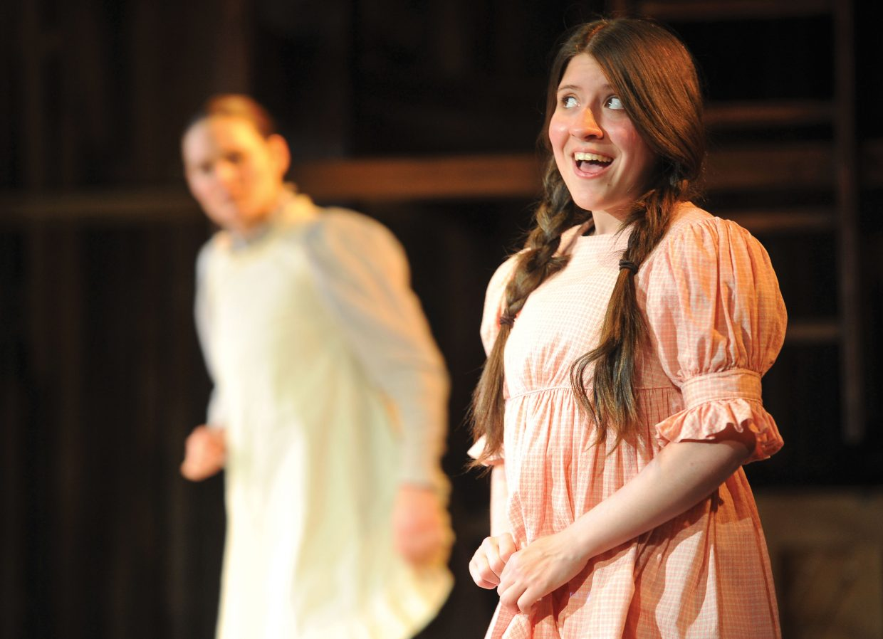 """Idalmy Carache, front, and Mary Chieffo perform a scene during a run-through for """"Spring Awakening"""" on Wednesday at the Perry-Mansfield Performing Arts School and Camp. The school will present the Tony Award-winning musical at 8 p.m. Thursday, Friday and Saturday. Tickets are available for $25."""